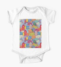 Cityscape seamless pattern. Sketch.  Kids Clothes