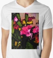 Still Life of Pink Flowers and Green Leaves T-Shirt