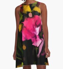 Still Life of Pink Flowers and Green Leaves A-Line Dress