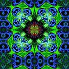 Blue Green Star Mandala by webgrrl