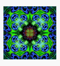 Blue Green Star Mandala Photographic Print