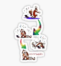 music dance hugs sleep calvin and hobbes Sticker