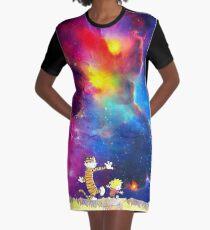 Calvin and Hobbes Nebula Graphic T-Shirt Dress