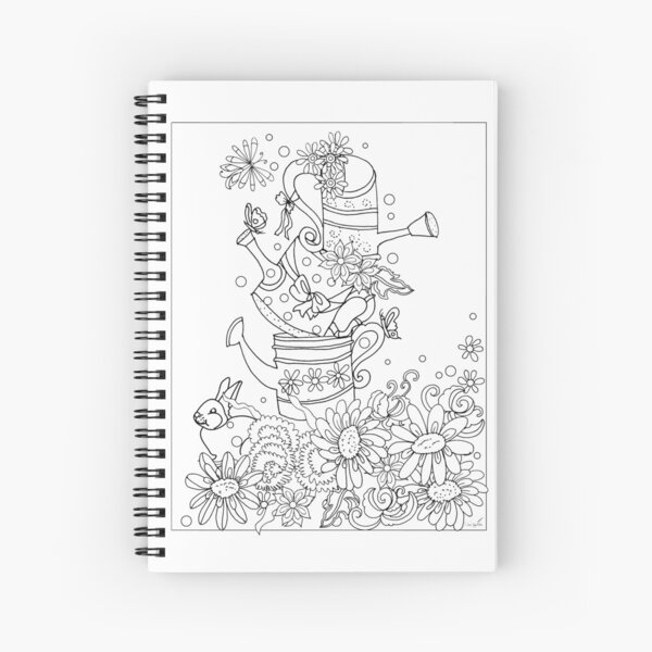 Spring flowers in watering cans and rabbit Spiral Notebook