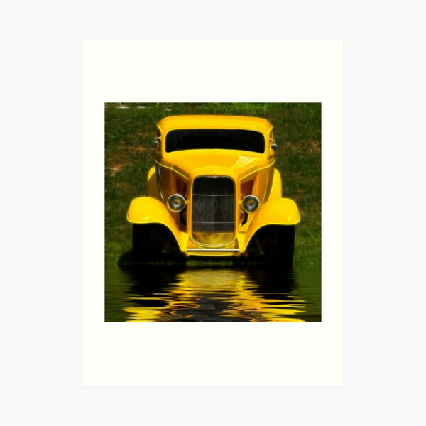 Yellow Hot Rod Art Print