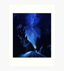 Walking under a starry sky Art Print