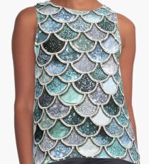 Teal, Silver and Green Sparkle Faux Glitter Mermaid Scales Contrast Tank
