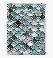 Teal, Silver and Green Sparkle Faux Glitter Mermaid Scales iPad Case/Skin
