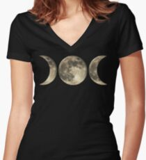 The triple moon Women's Fitted V-Neck T-Shirt