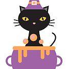 Halloween Cat Witch by catloversaus