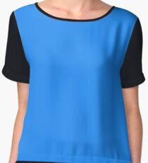 Dodger Blue Simple Chiffon Top