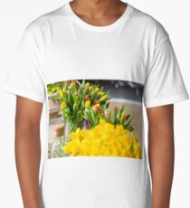 Yellow narcissuses bouquet in a glass vase Long T-Shirt