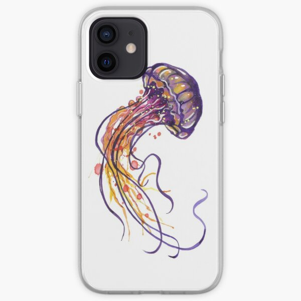 Jellyfish watercolor iPhone Soft Case