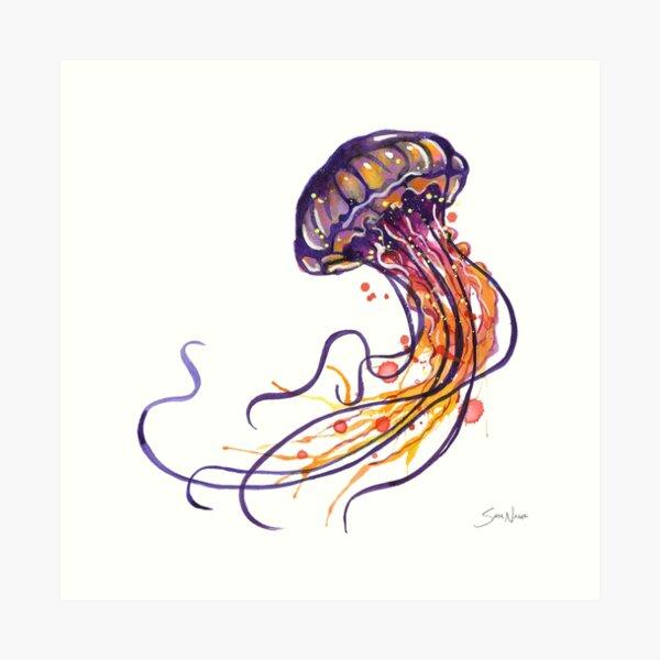 Acuarela de medusas Lámina artística