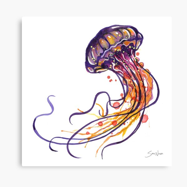 Jellyfish watercolor Canvas Print