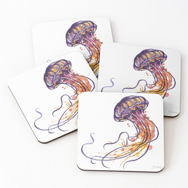 Jellyfish watercolor Coasters (Set of 4)