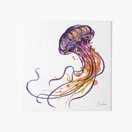 Jellyfish watercolor Art Board Print