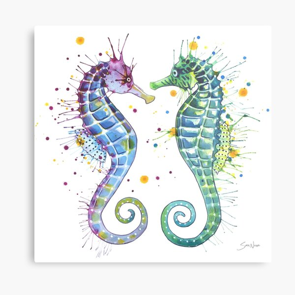 Guardians of the Sea - Seahorse Metal Print