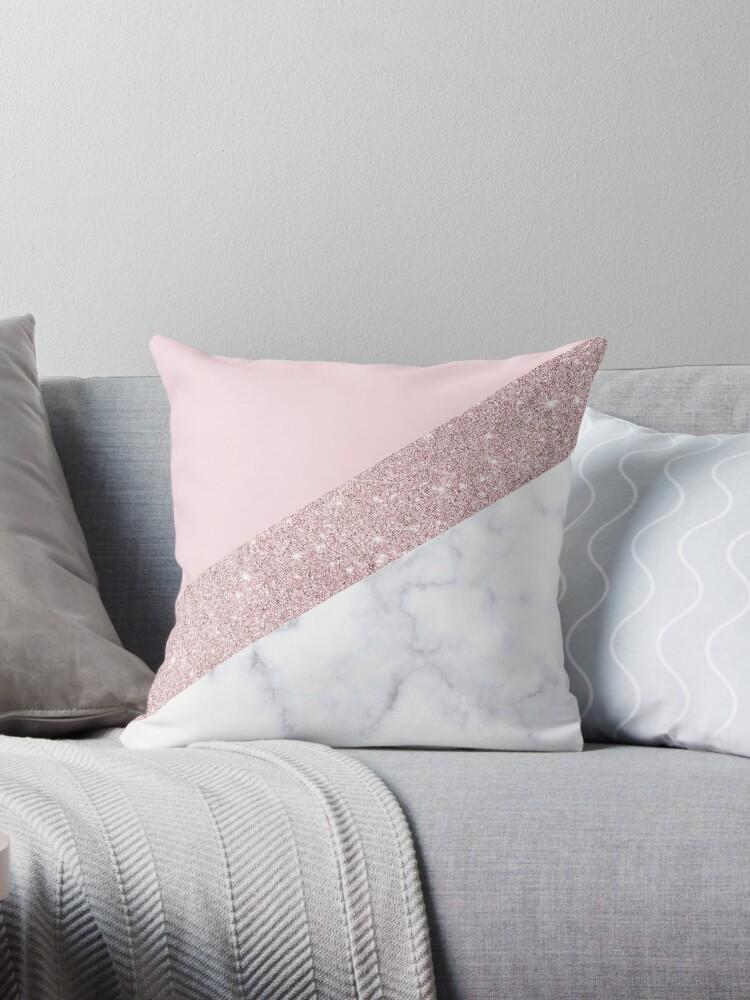 Stylish white marble rose gold glitter pink by NaughtyCat