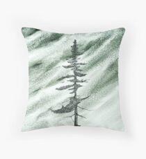 Portrait of an Evergreen in Snowstorm Throw Pillow