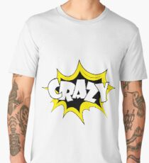 Cartoon comic pop art label-CRAZY Men's Premium T-Shirt