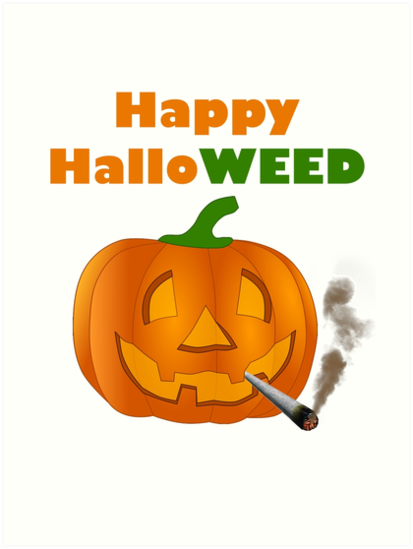 Halloween pumpkin smoking weed T Shirt by travelr