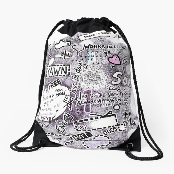 Random Sketch  Drawstring Bag