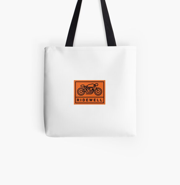 RIDEWELL Logo - Black on Orange All Over Print Tote Bag
