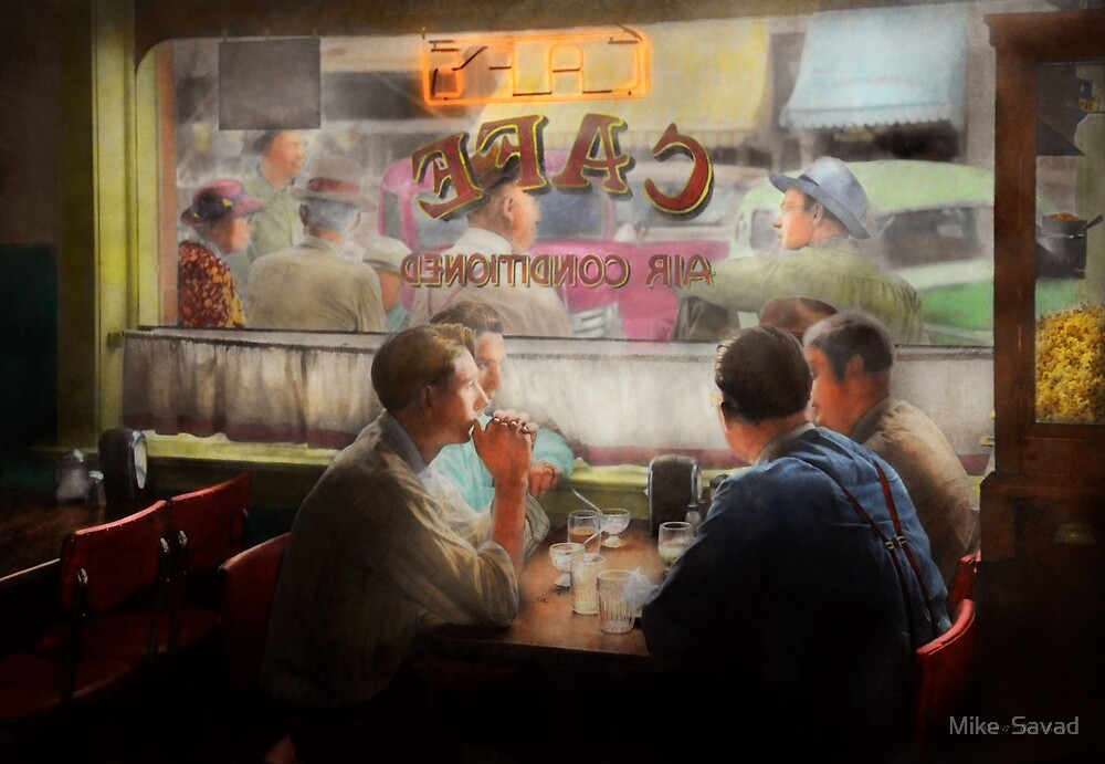 Cafe - Cold drinks with friends 1941 by Michael Savad