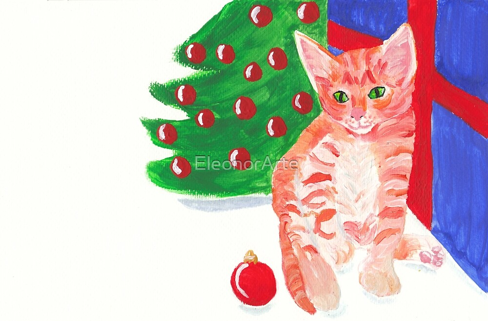 Christmas kitten by EleonorArte