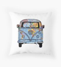 Trippy Little World Traveler VW Van Throw Pillow