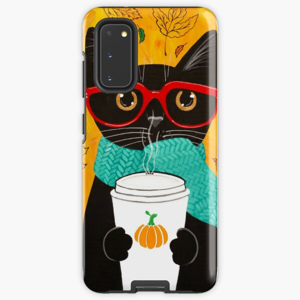 Autumn Pumpkin Coffee Cat Samsung Galaxy Tough Case