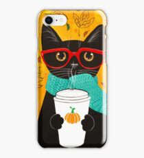 Pumpkin Coffee Cat iPhone Case/Skin