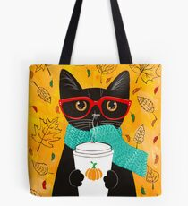 Pumpkin Coffee Cat Tote Bag