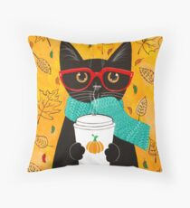 Pumpkin Coffee Cat Throw Pillow