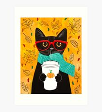 Pumpkin Coffee Cat Art Print