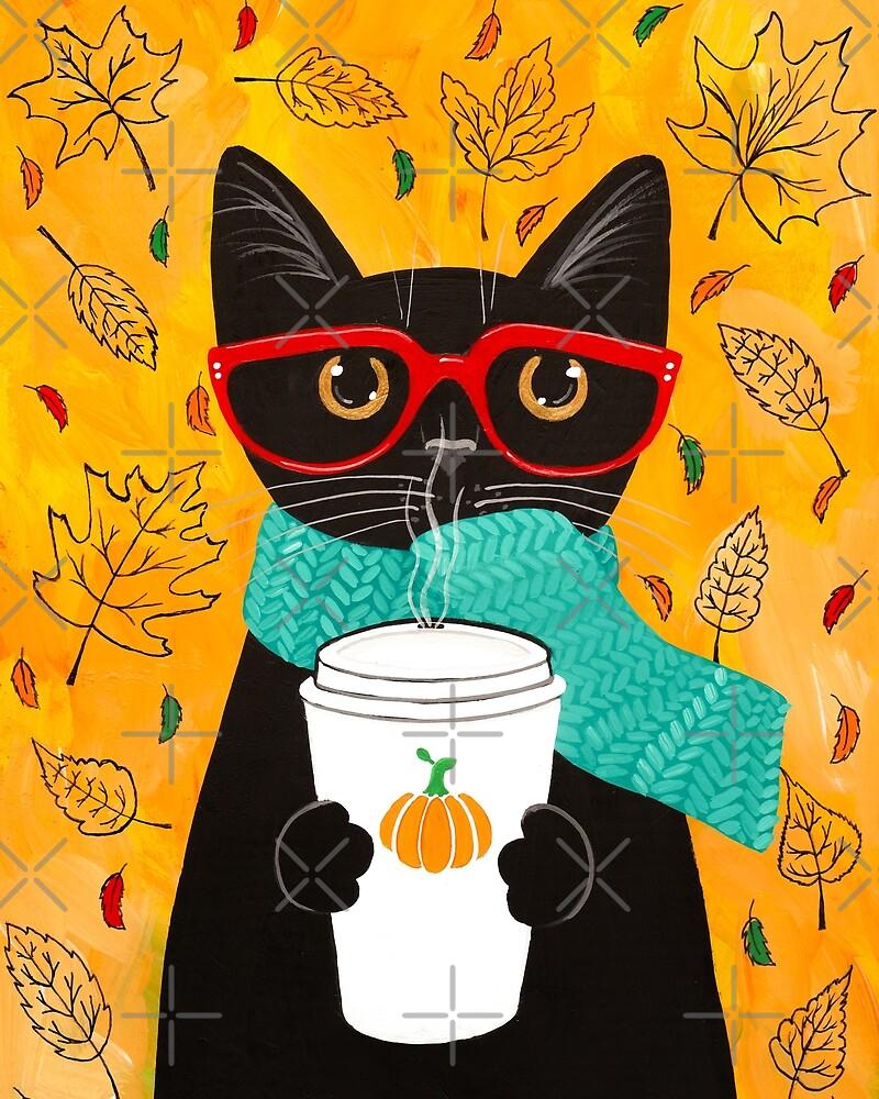 Pumpkin Coffee Cat by Ryan Conners