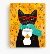 Pumpkin Coffee Cat Canvas Print