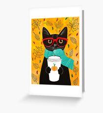 Tarjeta de felicitación Gato de café de calabaza