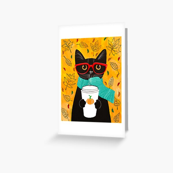 Autumn Pumpkin Coffee Cat Greeting Card