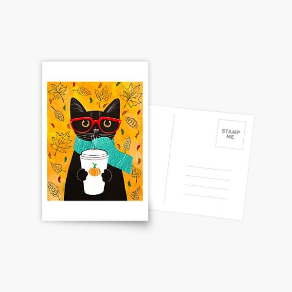 Pumpkin Coffee Cat Postcard