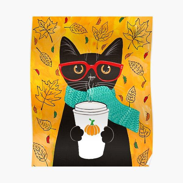 Autumn Pumpkin Coffee Cat Poster