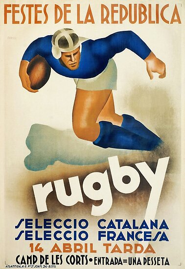 Vintage Art Deco Rugby sport travel poster  by Glimmersmith