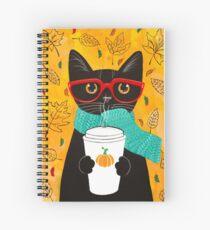 Cuaderno de espiral Gato de café de calabaza