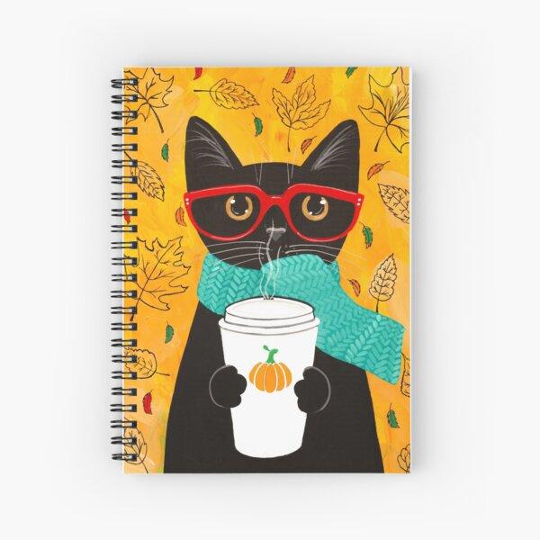 Autumn Pumpkin Coffee Cat Spiral Notebook