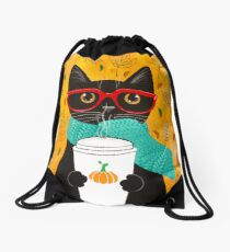 Pumpkin Coffee Cat Drawstring Bag