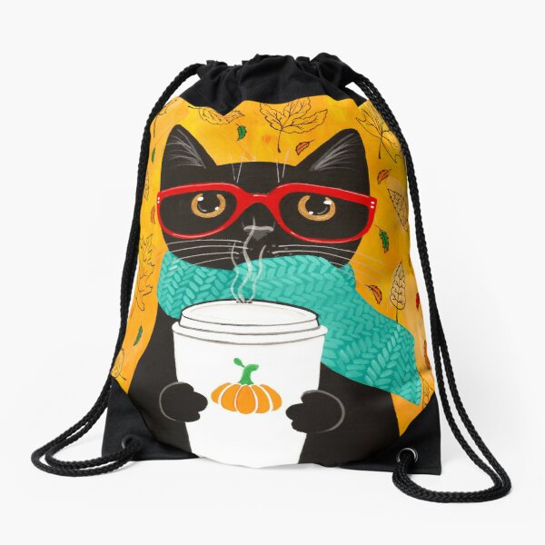Autumn Pumpkin Coffee Cat Drawstring Bag