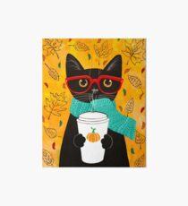 Kürbis Kaffee Katze Galeriedruck