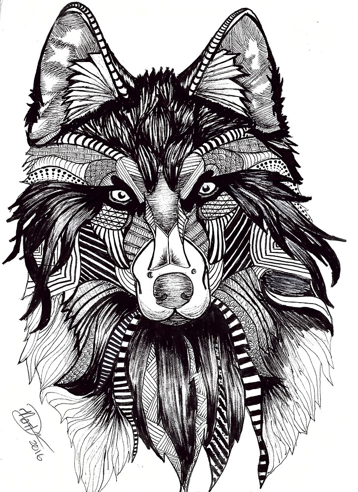 Tribal Wolf  by NatsArtShop