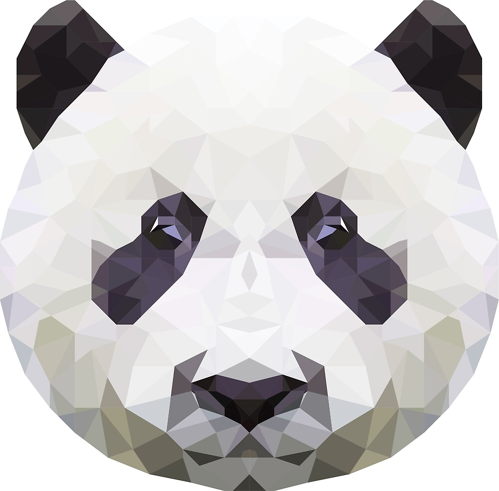 panda low poly art by krisztinaart